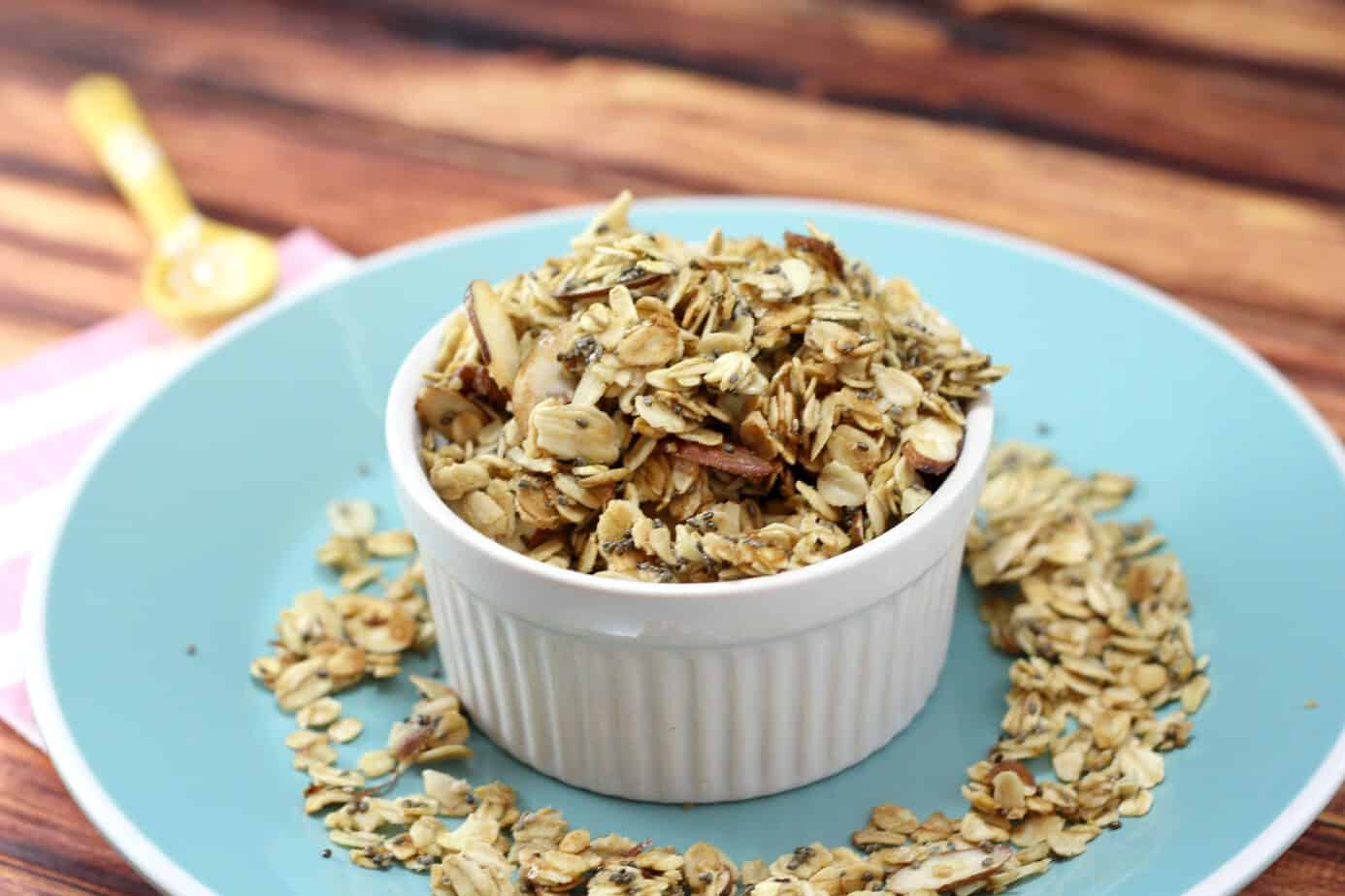 chia almond granola with coconut oil