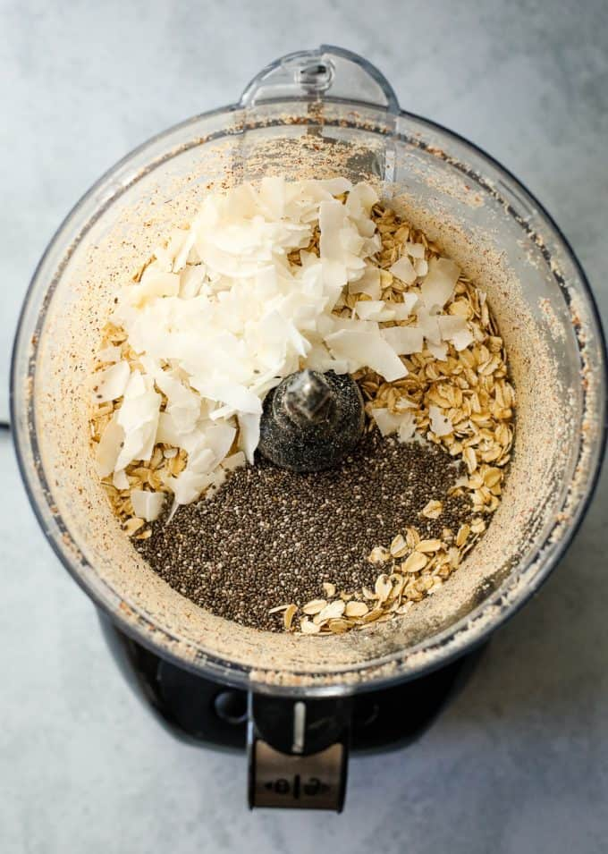 Chia almond granola in a food processor