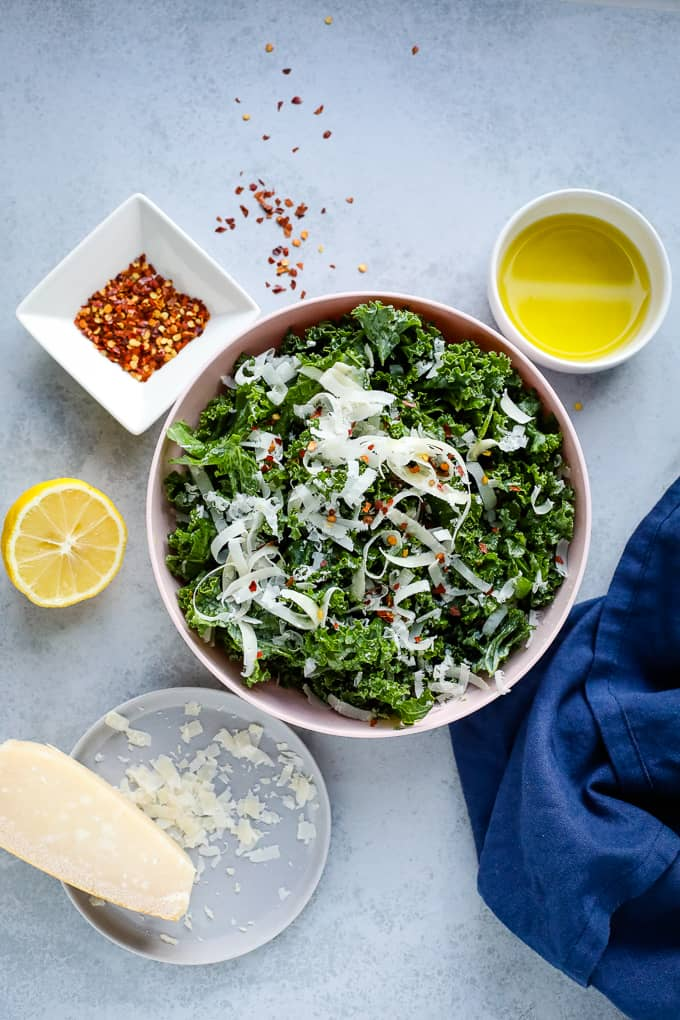 kale salad with ingredients