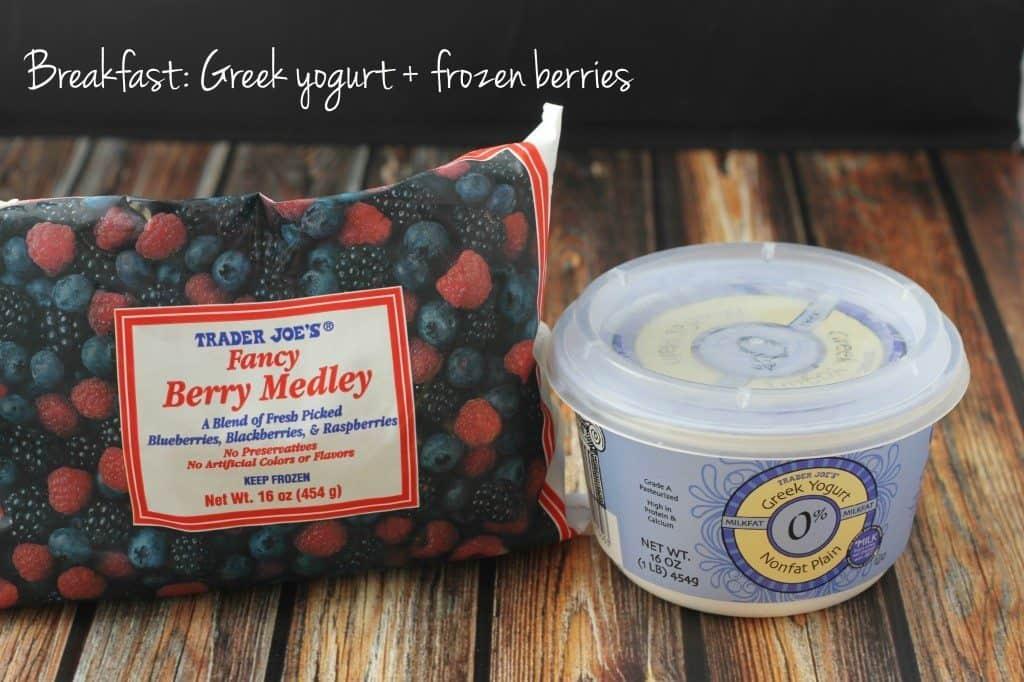breakfast greek yogurt with berries