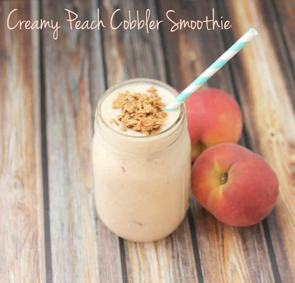 creamy peach cobbler smoothie
