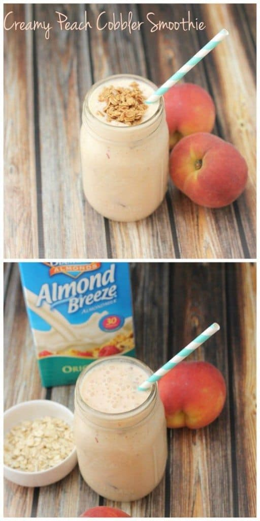 This creamy peach cobbler smoothie tastes like dessert but it's full of delicious protein and fiber for a healthy breakfast or easy snack!
