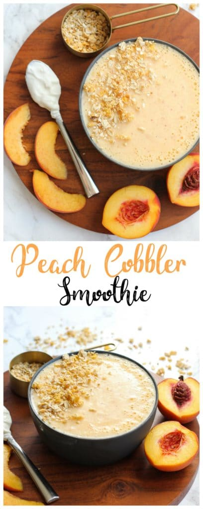 This creamy peach cobbler smoothie recipe is a delicious way to use fresh or frozen peaches! This healthy breakfast recipe is an easy smoothie for a busy morning!