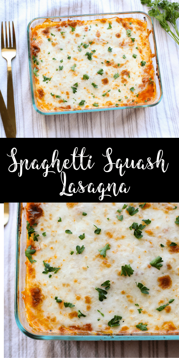 This easy spaghetti squash lasagna is a deliciously cheesy dinner! Made with just a few simple ingredients, this gluten-free, vegetarian lasagna is a tasty main dish!