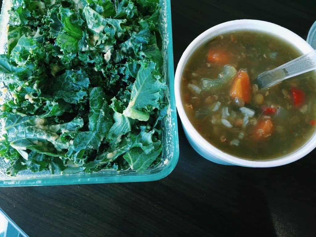kale salad and soup