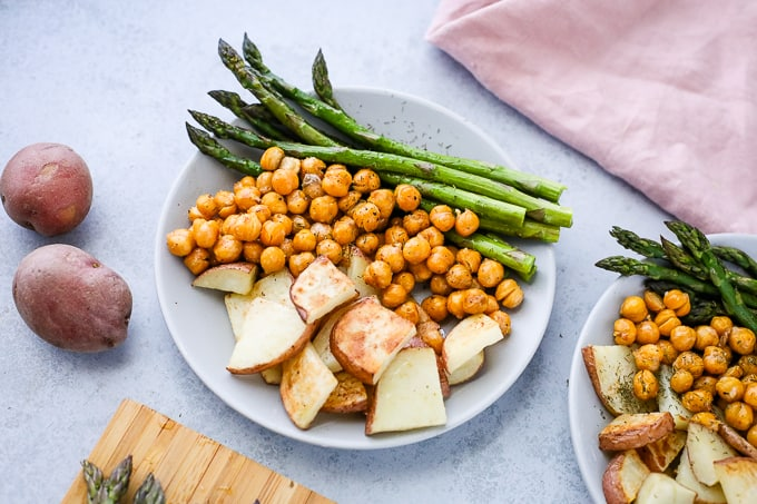 roasted chickpeas and vegetables