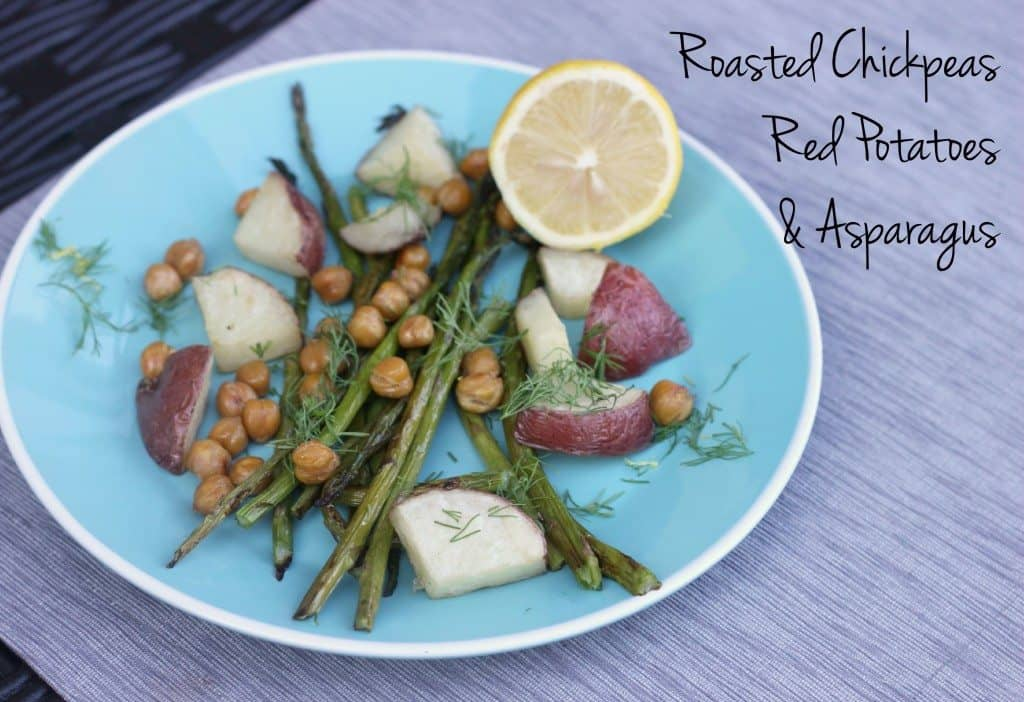 roasted chickpeas with red potatoes and asparagus
