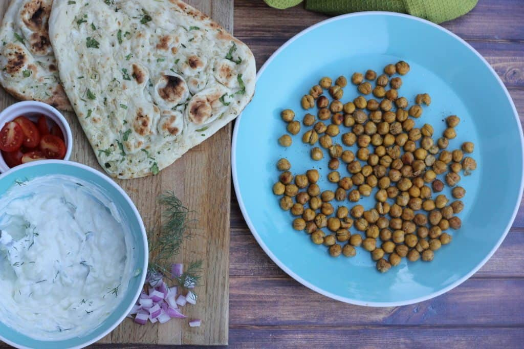 flatbread with tzaziki and chickpeas