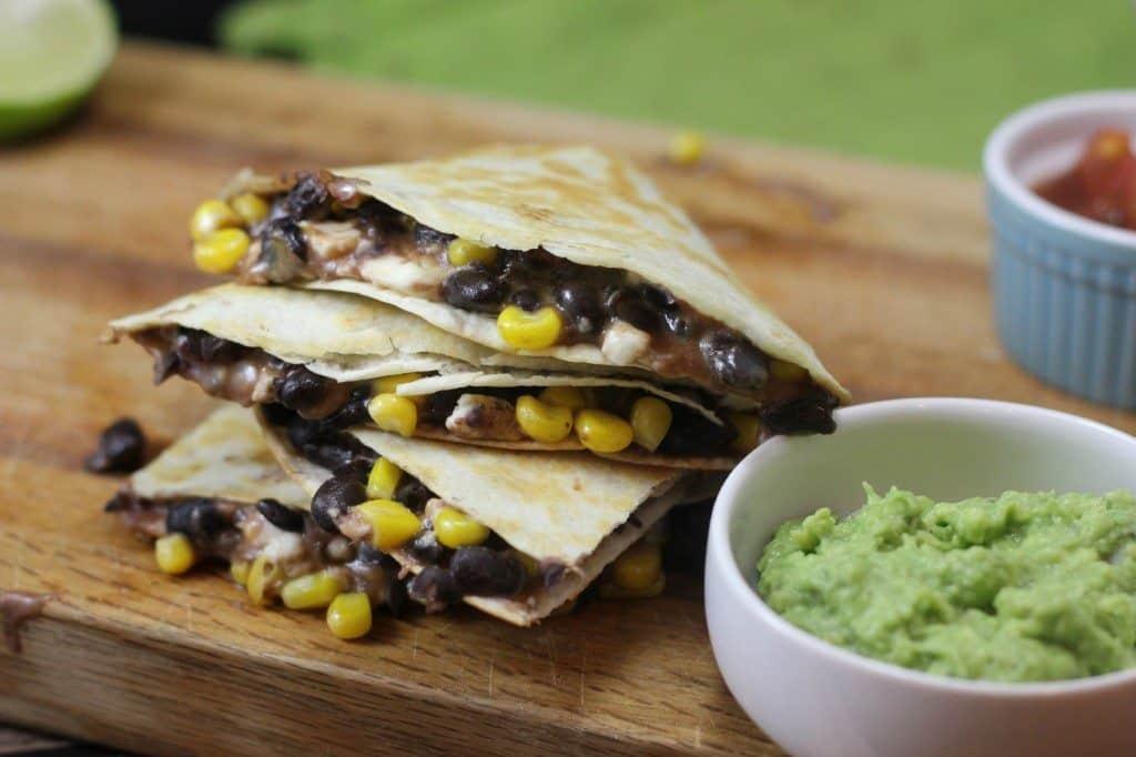 black bean and corn quesadilla