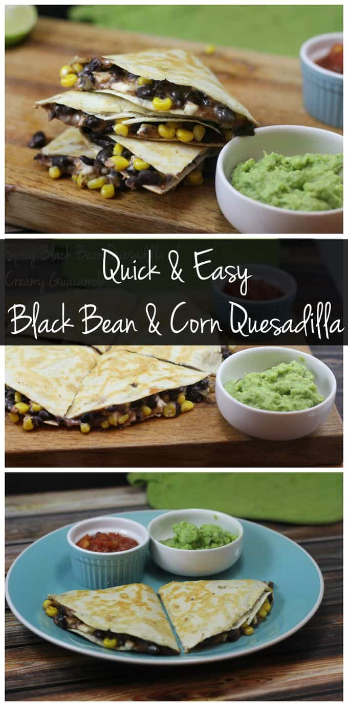 Whip up a quick vegetarian dinner with this black bean and corn quesadilla!