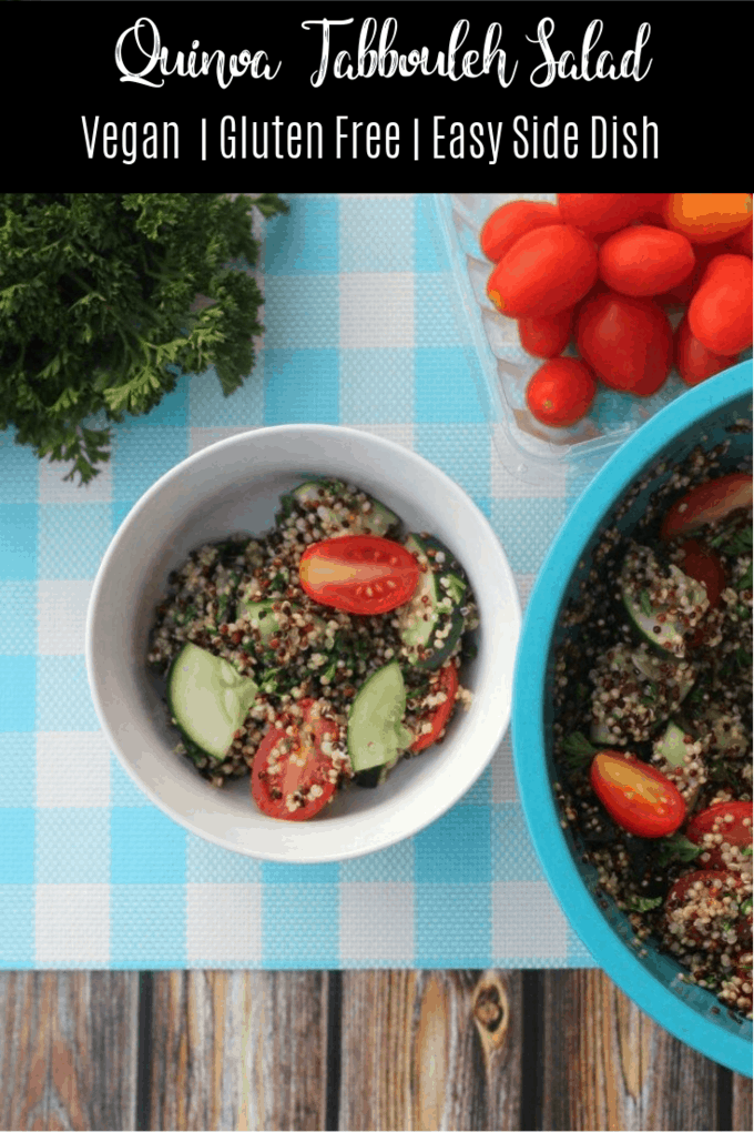 This easy quinoa tabbouleh salad recipe uses quinoa in place of bulger, making this recipe gluten-free! Quinoa is also a great source of plant-based protein. Make this recipe for a quick and easy side dish!