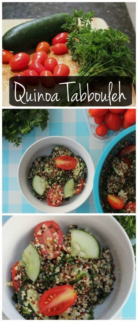 This quinoa tabbouleh is vegan & gluten free! It's so easy to make and is perfect stuffed inside a pita, topped with feta, or eaten with a spoon!