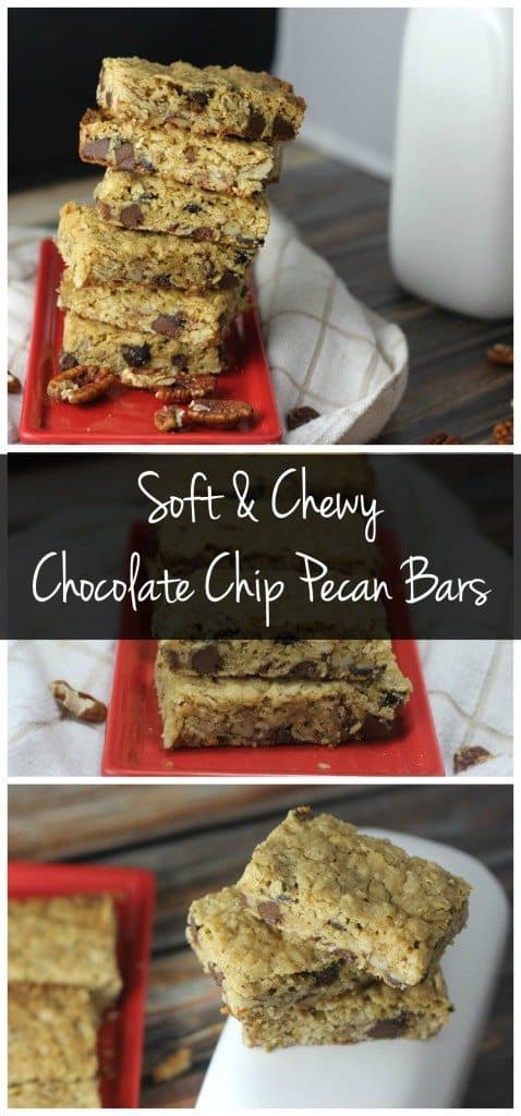 soft and chewy chocolate chip pecan bars