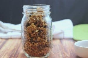 granola in a mason jar