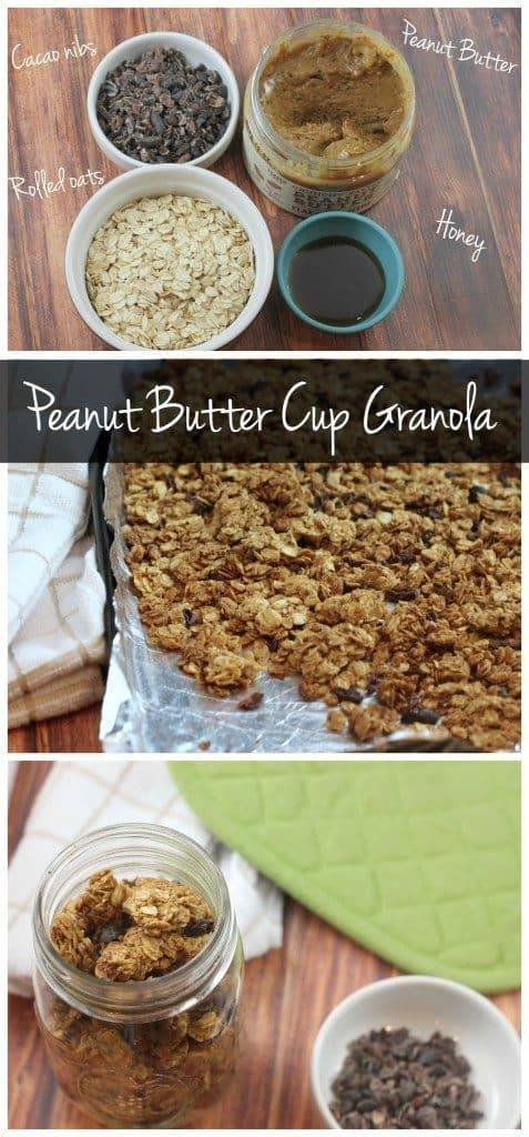 This peanut butter cup granola is gluten free, low in sugar, and totally delicious! You only need 4 ingredients!