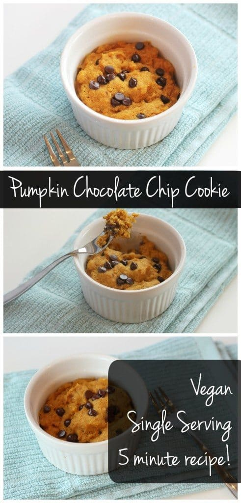 This single serving pumpkin chocolate chip cookie can be ready in 5 minutes! It's vegan, healthy, & totally delicious!