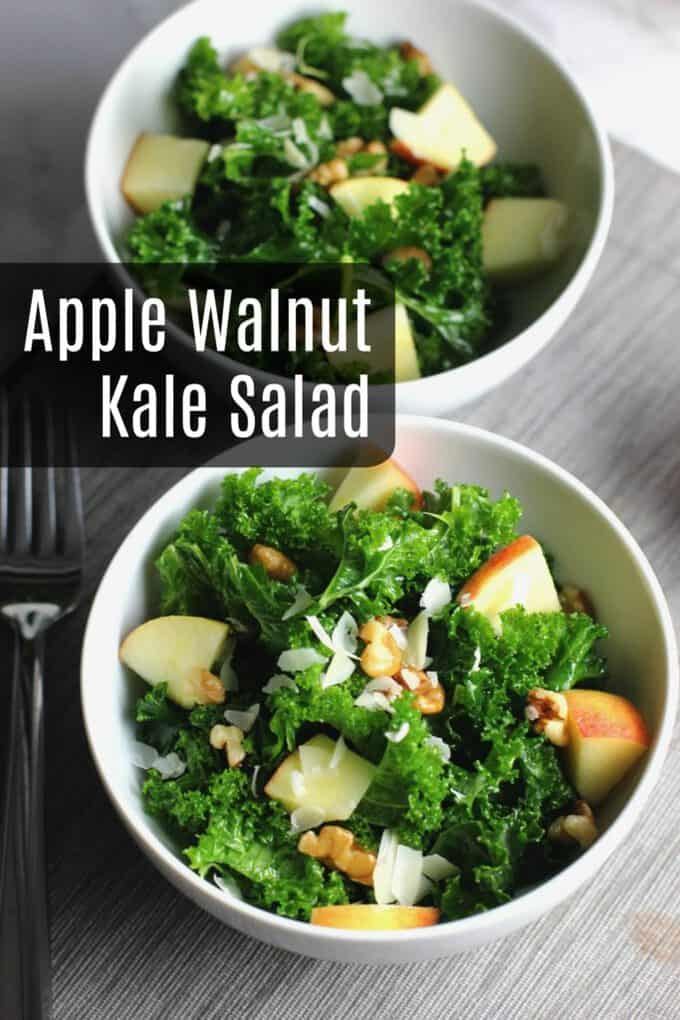 This apple walnut kale salad is a hearty fall salad with crunchy apples and walnuts topped with salty parmesan. Make this for a weeknight salad or an easy side dish!