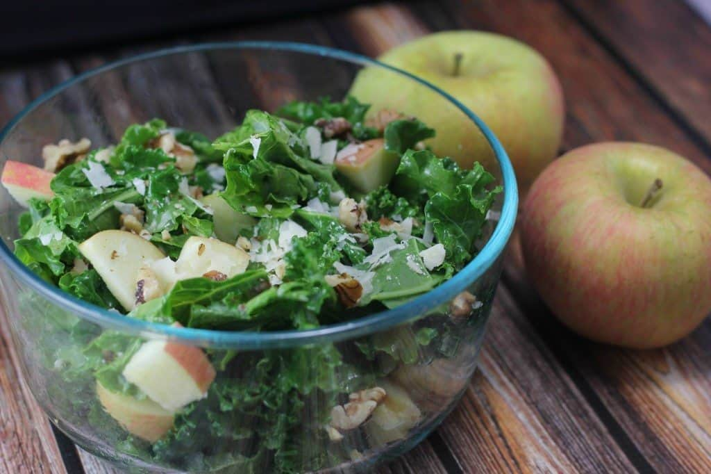apple kale salad with walnuts