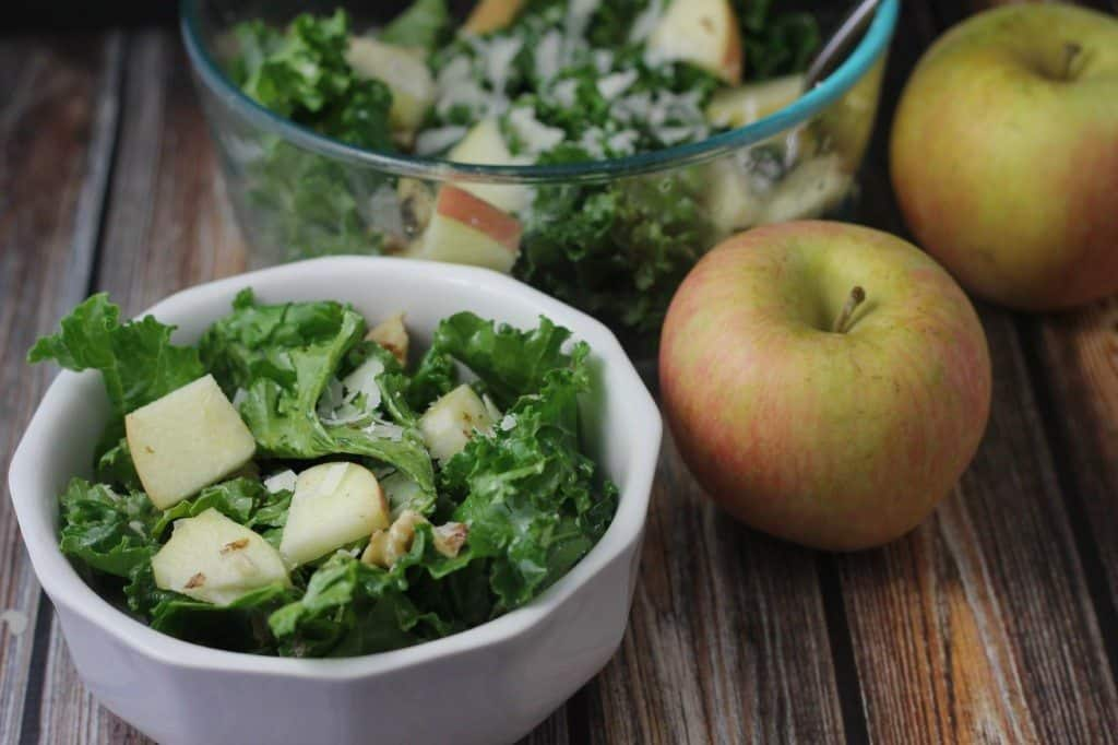 apple walnut kale salad with parmesan