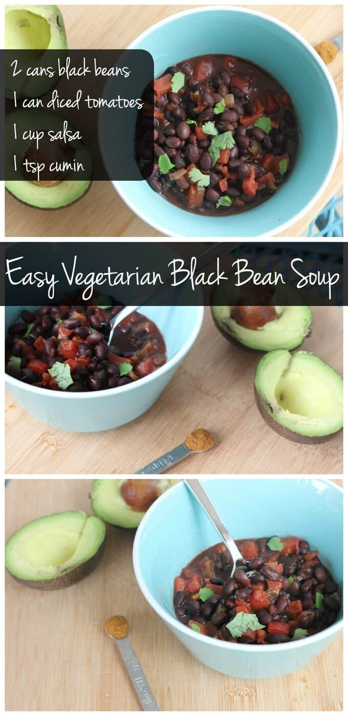 This vegan and gluten free black bean soup recipe is only 5 ingredients. You can have it ready on the table in just 15 minutes!