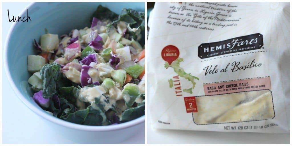lunch salad and ravioli