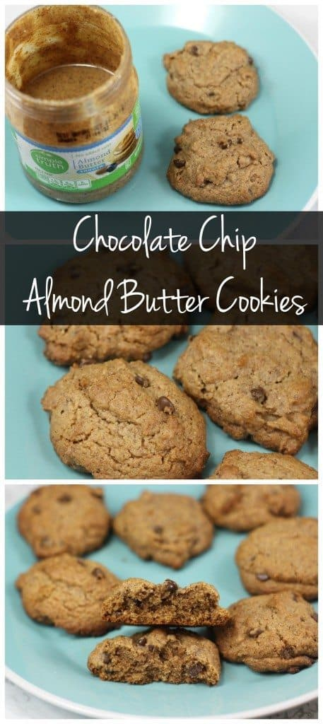 These almond butter chocolate chip cookies are made with coconut oil and whole wheat flour, so you can enjoy these as a healthy snack or dessert!
