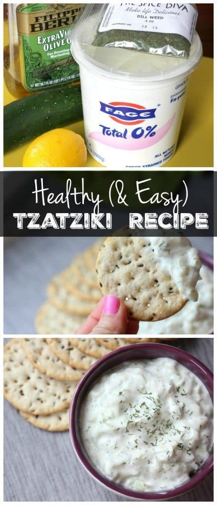 This easy tzatziki sauce recipe is the perfect healthy dip to serve at a party or spread on a sandwich! It's vegetarian, gluten free, and packed with protein!