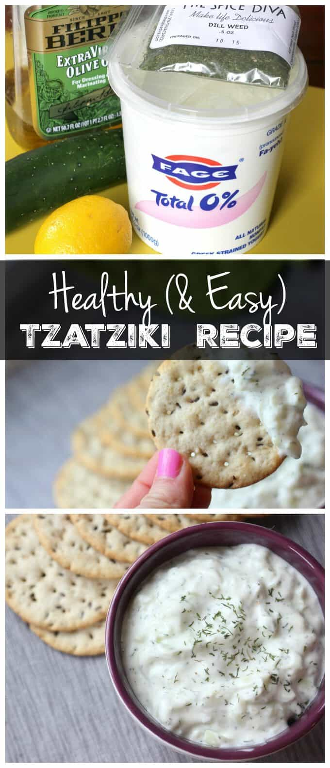 This easy tzatziki sauce recipe is the perfect healthy dip to serve at a party or spread on a sandwich! It\'s vegetarian, gluten free, and packed with protein!