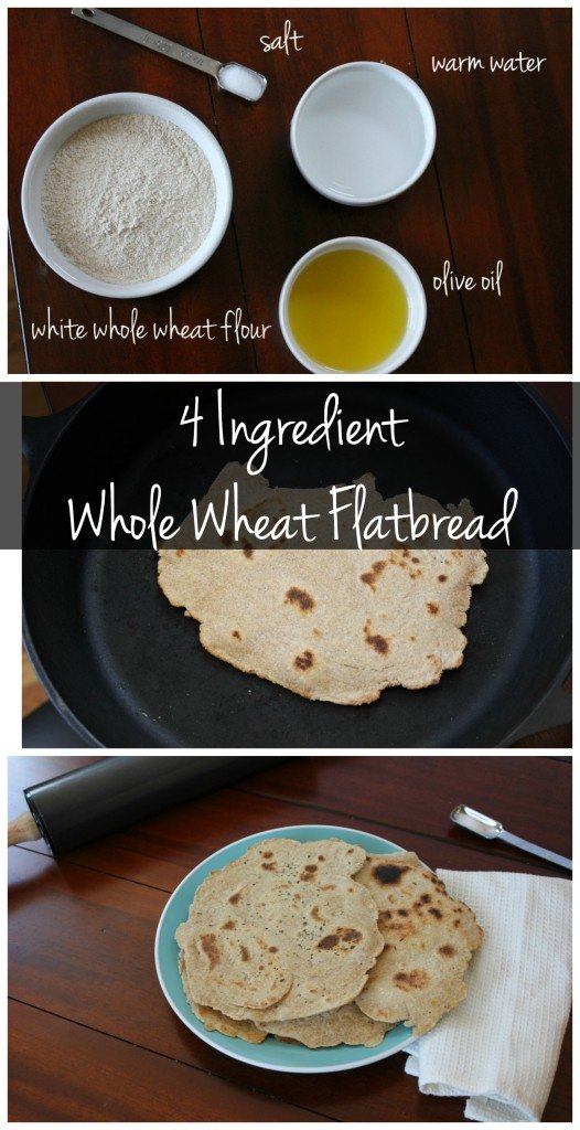 These 4 ingredient whole wheat flatbread recipe is SO easy! It's vegan, yeast-free and can be made ahead of time for a quick & easy snack!