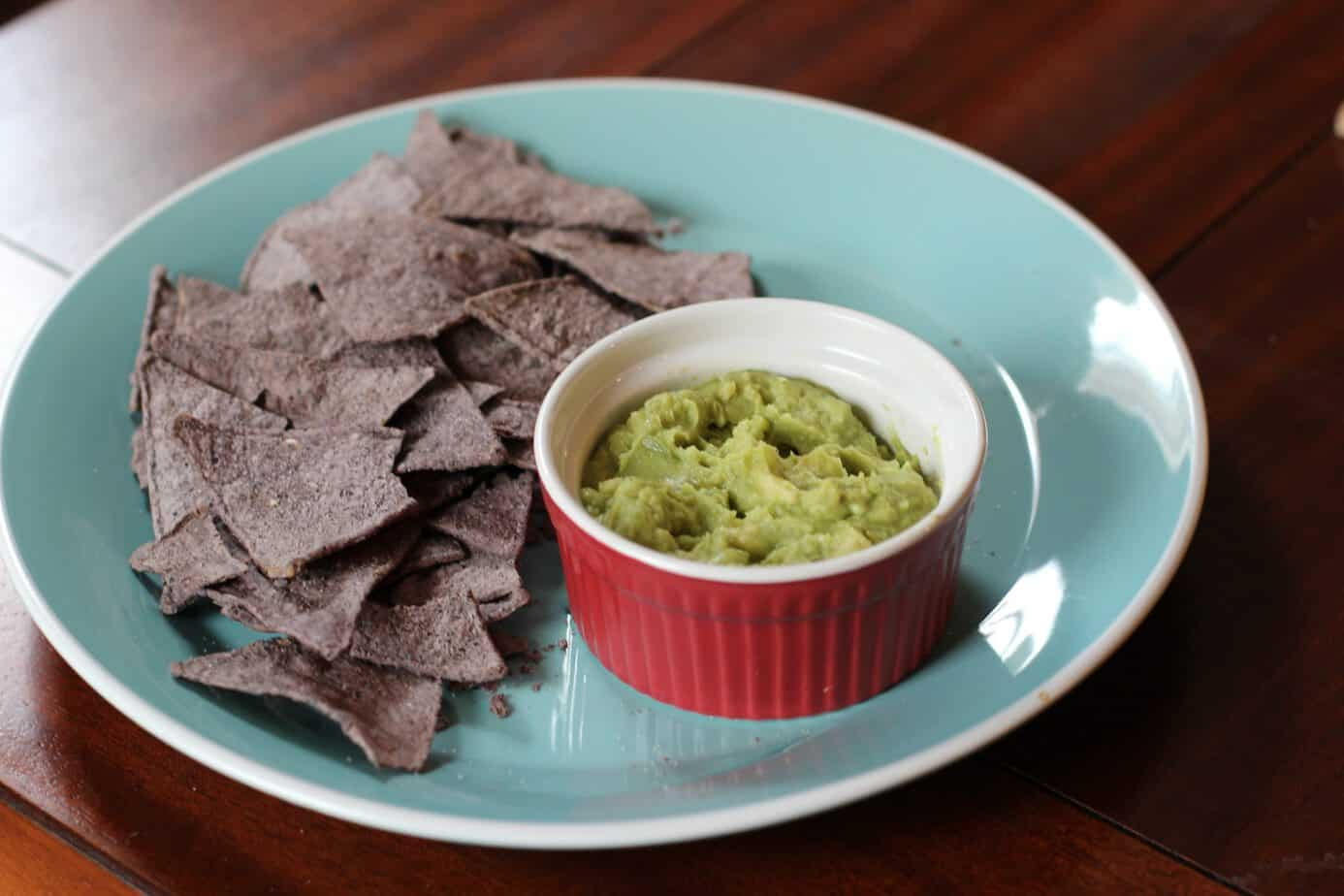 guacamole and baked chips