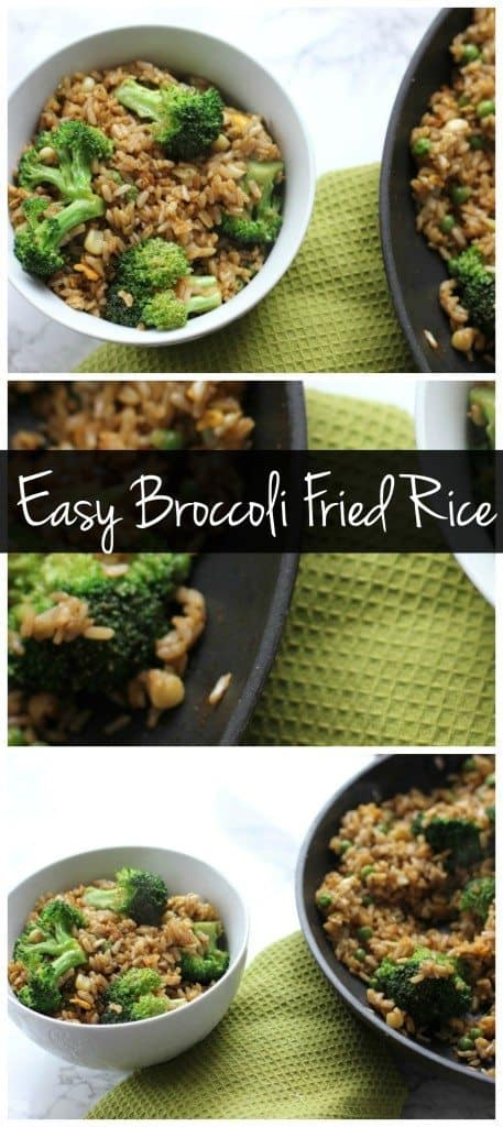 Need an easy weeknight dinner idea? This broccoli fried rice is the perfect vegetarian & gluten free meal! It can be made in minutes with whatever you have in the fridge!