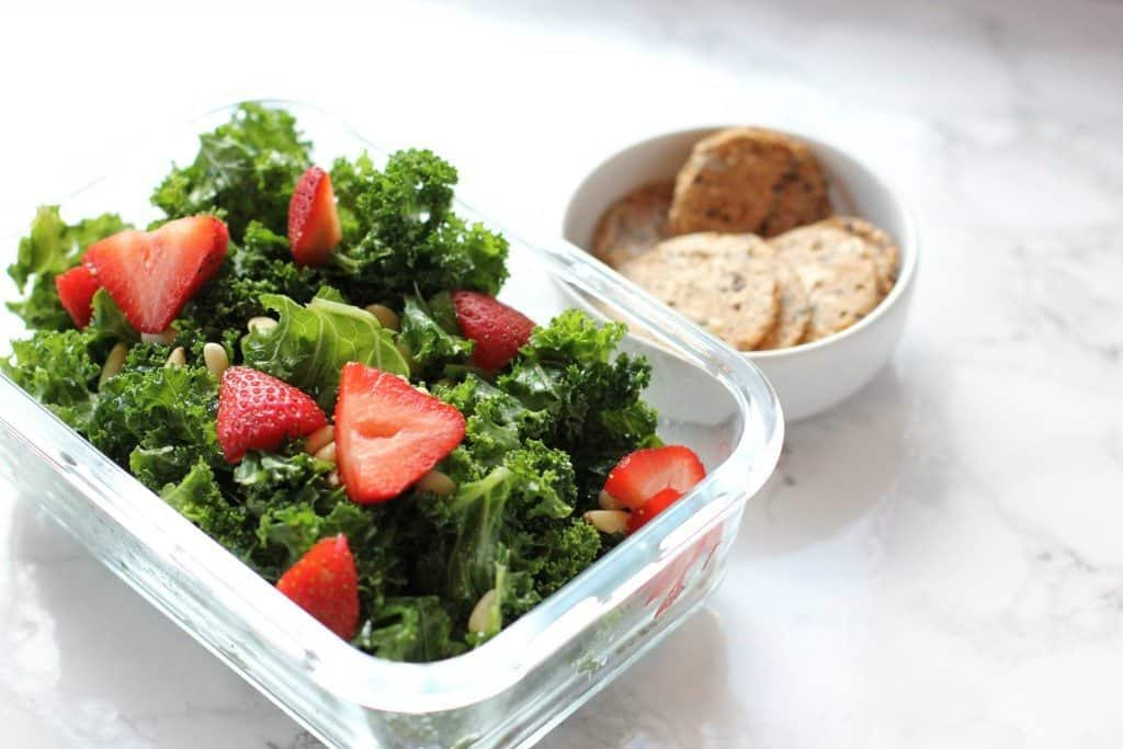 kale salad and crackers
