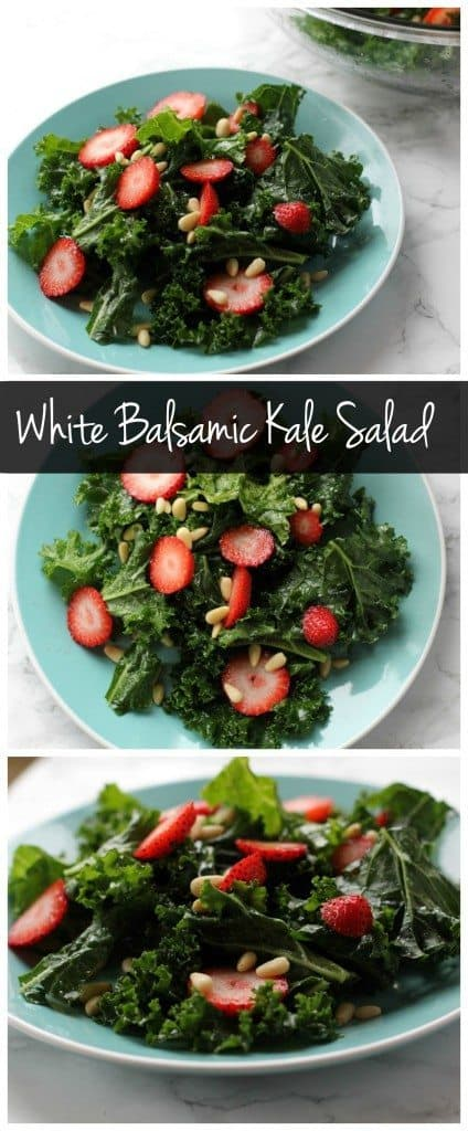 This white balsamic kale salad is the perfect vegan and gluten free summer recipe! It's a low calorie dinner packed with superfoods!