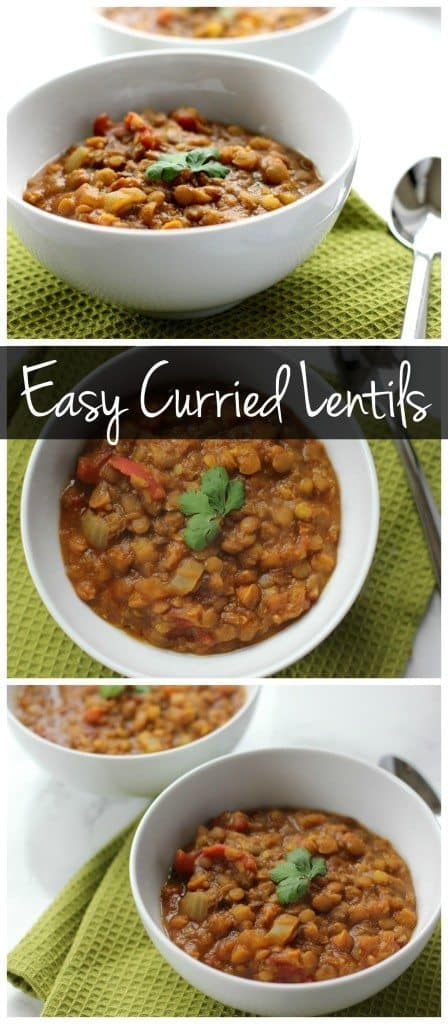 These easy curried lentils are a budget friendly dinner recipe that is also vegan and gluten free!