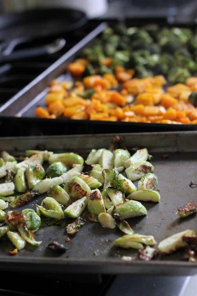 prepping roasted vegetables
