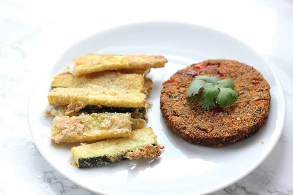 zucchini fries and a veggie burger