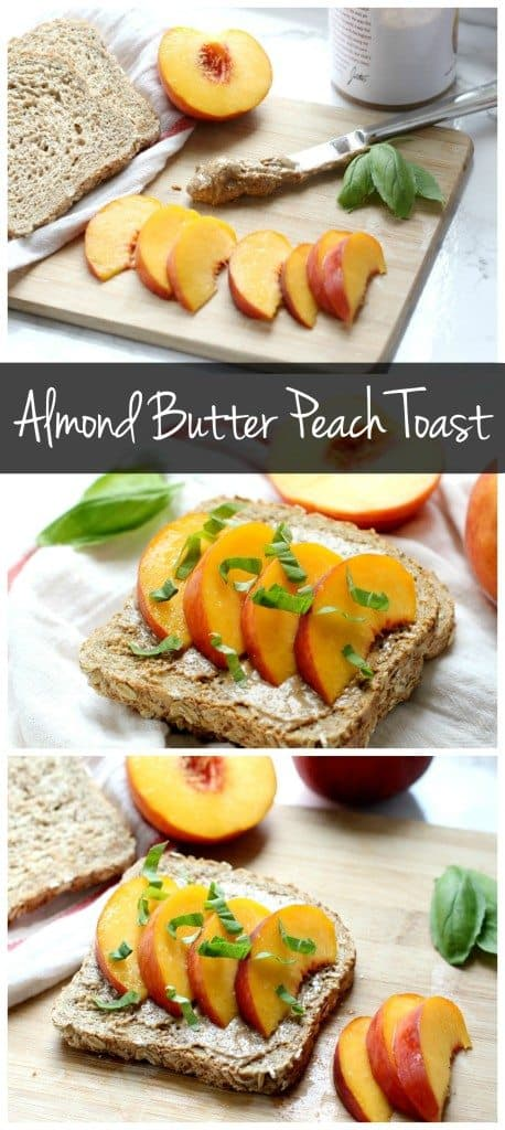 This almond butter peach toast will be your new favorite breakfast! It only takes a few minutes to put together so it's perfect for Sunday brunch or Monday morning breakfast!