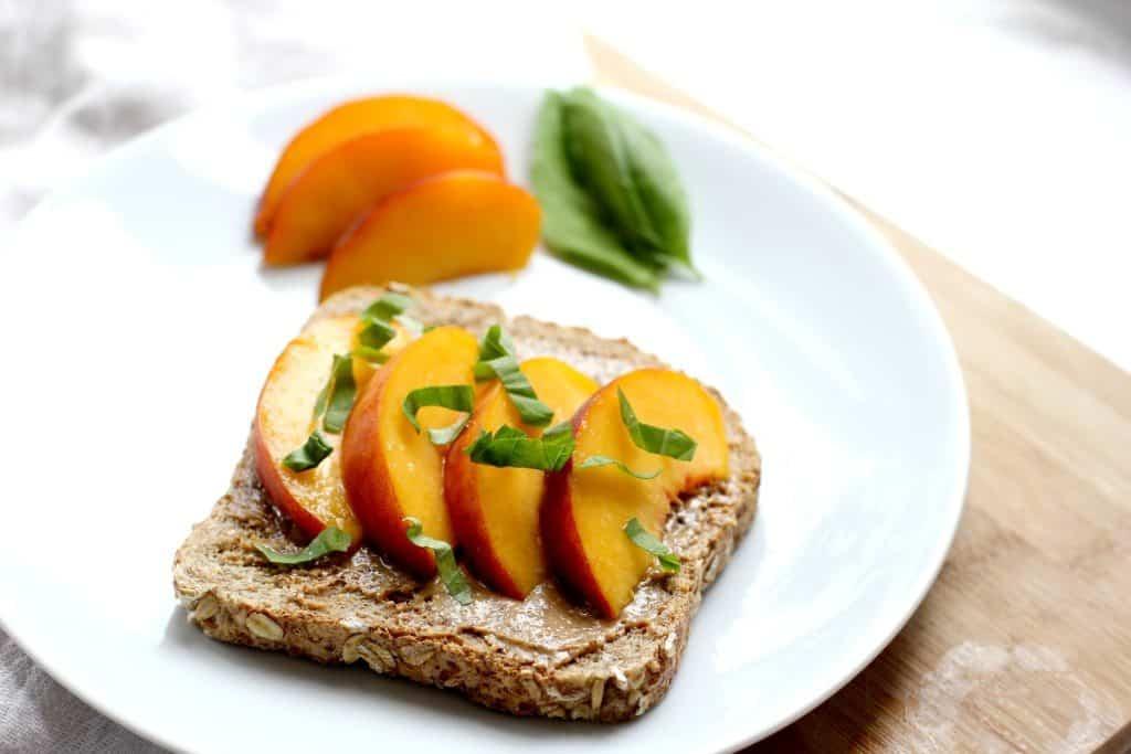 basil peach toast