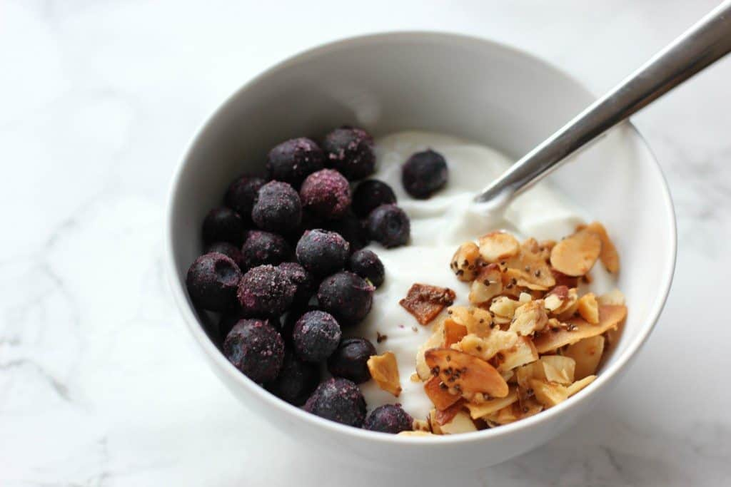 blueberries and granola