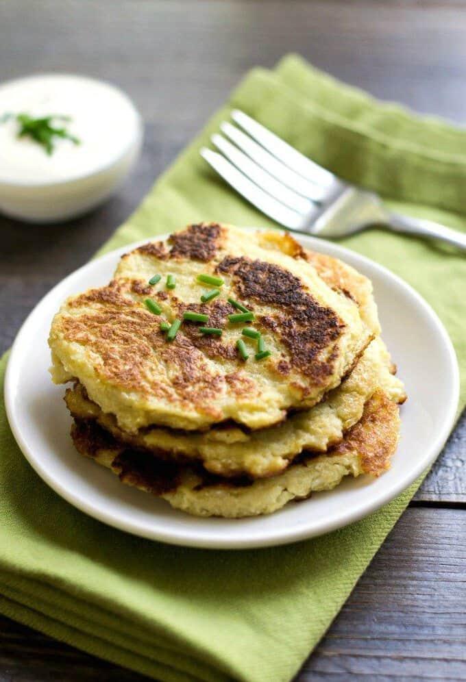 cauliflower rice pancakes