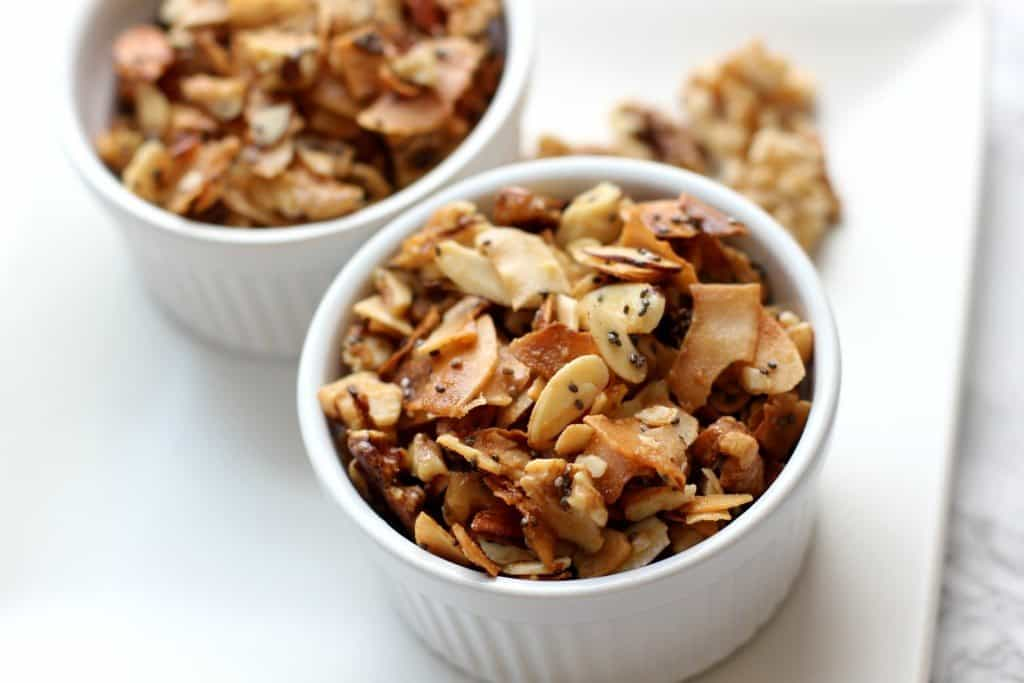 coconut walnut granola in a ramekin