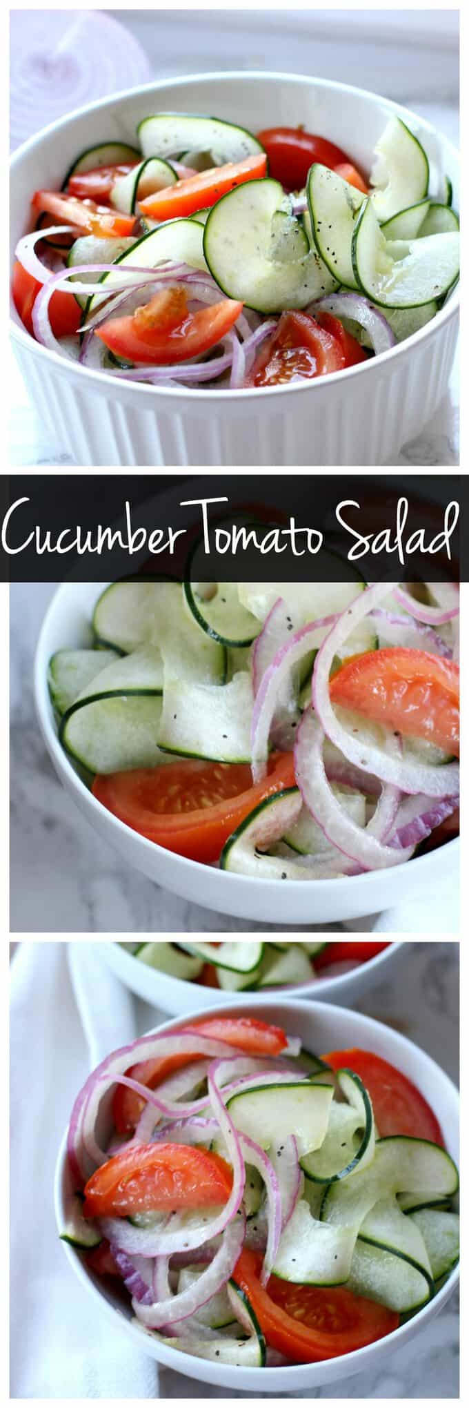 You only need a handful of pantry staples to whip up this easy tomato cucumber salad! Fresh produce shines in this easy salad recipe!
