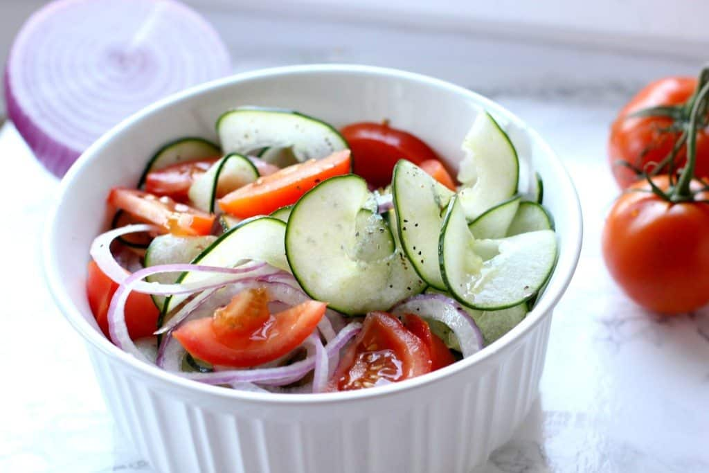 tomato cucumber salad bowl