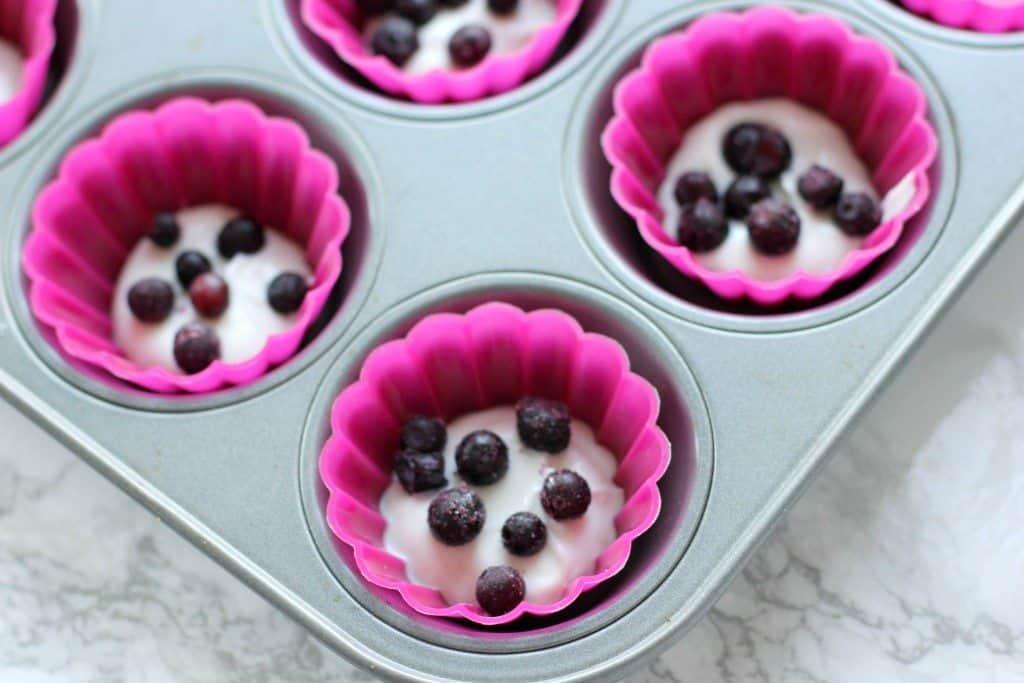 frozen yogurt in a muffin pan