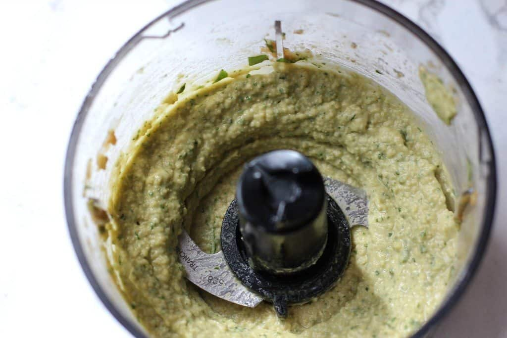basil pesto hummus mixed