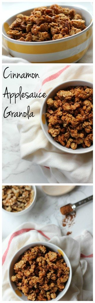 This cinnamon applesauce granola makes perfectly crunchy granola clusters! It's not too sweet so you can eat it by the handful or on top of yogurt. It's vegan and gluten free!