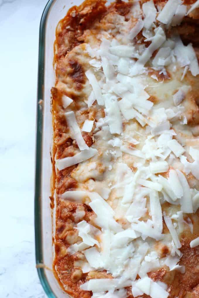 baked ziti in a pan