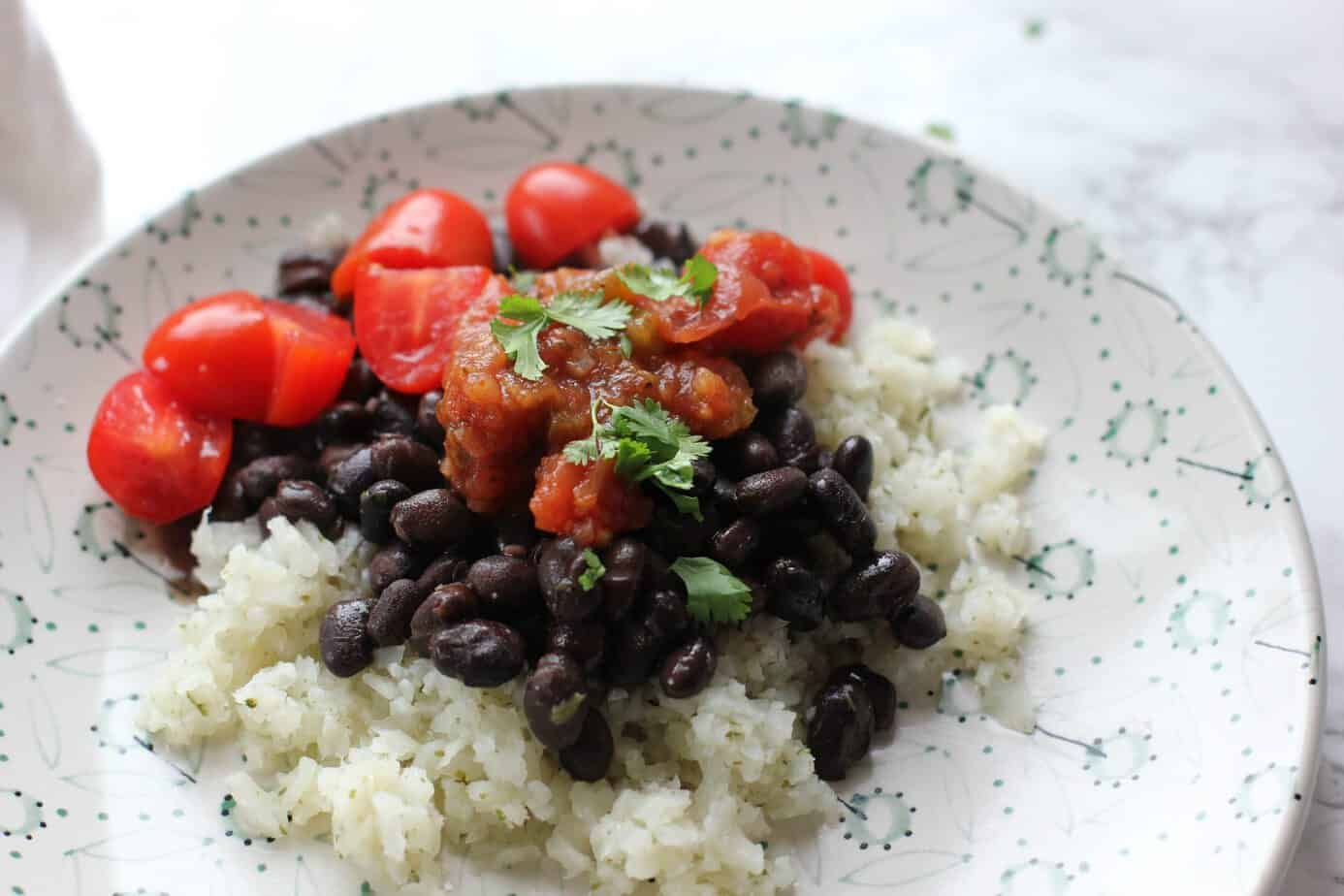 rice beans and salsa