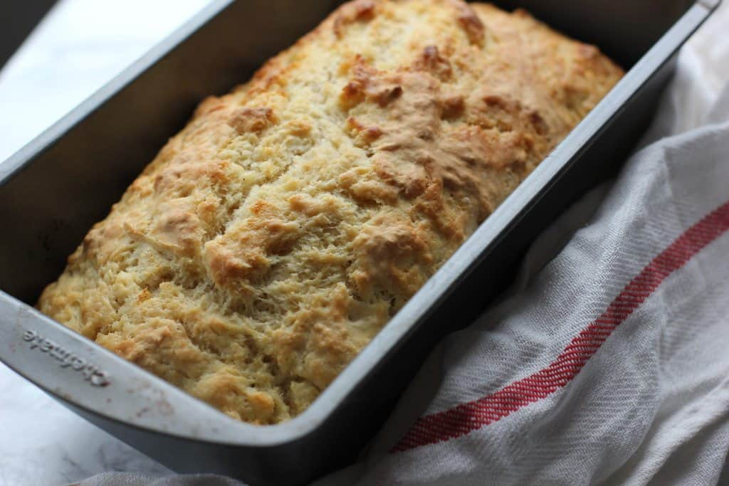 beer bread in a pan