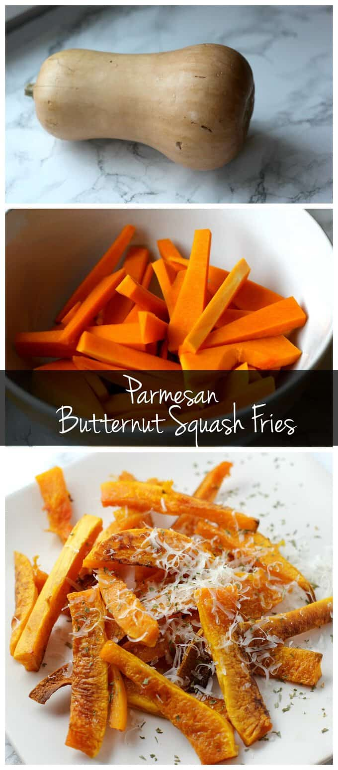 Upgrade your fries by trying these parmesan butternut squash fries! Healthier than sweet potato fries but just as delicious!